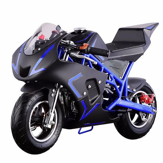 40CC Gas Pocket Bike Mini Motorcycle for Kids (Blue/Black), EPA Registered