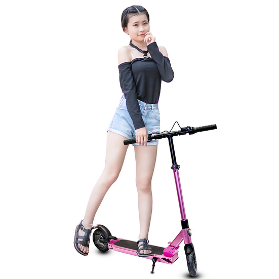 RoverX Foldable Electric Scooters for Adults, Teens, and Kids (Pink)