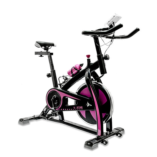 V-Fire Indoor Cycling Workout Bike for Cardio and Fitness (Pink)