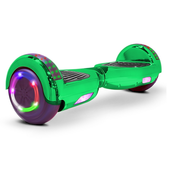 6.5'' Hoverboard with LED Lights and Bluetooth for Kids (Chrome Green)