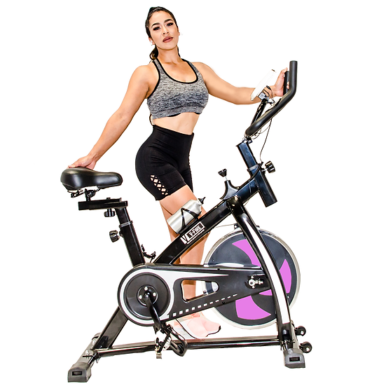 UPGRADED Indoor Fitness Workout Bike - Bigger Cushioned Seat (Pink)