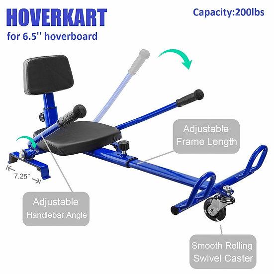 Self-Balancing Scooter Attachment Adjustable HoverKart for 6.5'' Hoverboard, Blu