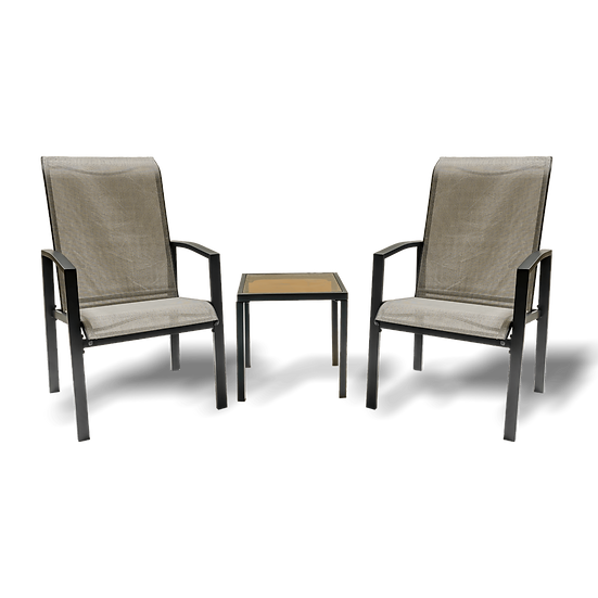 3 Piece Outdoor Patio Furniture with 1 Glass Table and 2 Textilene Chairs
