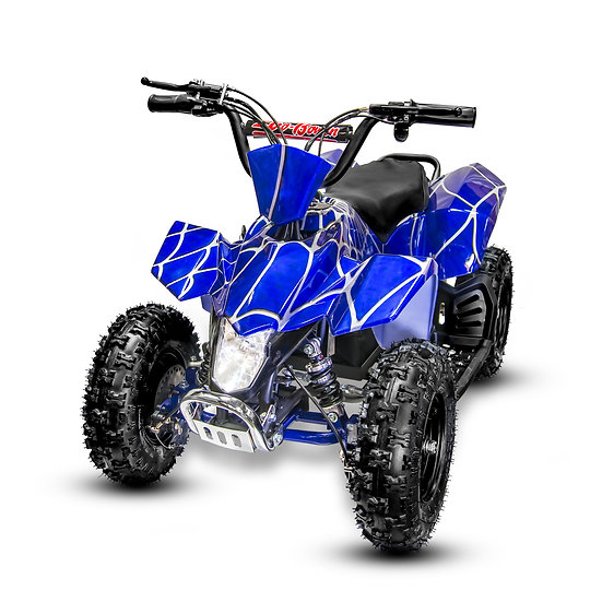 350W 24V SaharaX Electric ATV Mini Quad Four Wheeler for Kids (Blue Spider)