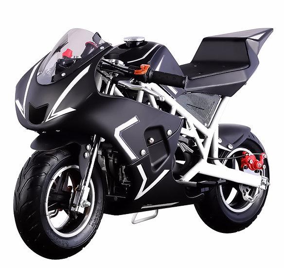 40CC Gas Pocket Bike Mini Motorcycle for Kids (White/Black), EPA Registered