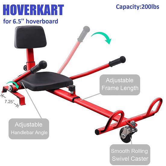 Self-Balancing Scooter Attachment Adjustable HoverKart for 6.5'' Hoverboard, Red