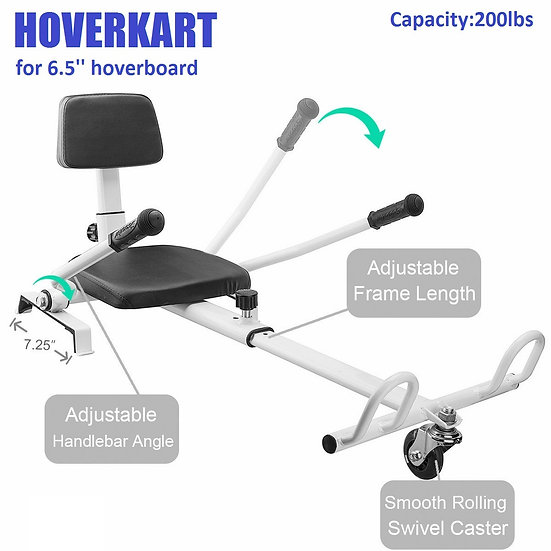 Self-Balancing Scooter Attachment Adjustable HoverKart for 6.5'' Hoverboard, Wht