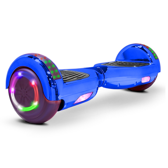 6.5'' Hoverboard with LED Lights and Bluetooth for Kids (Chrome Blue)