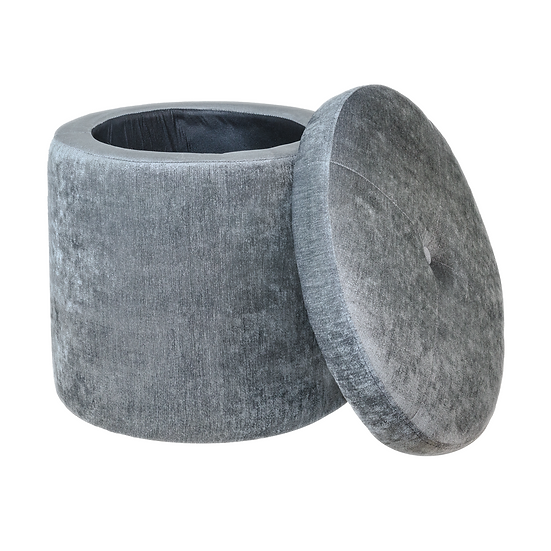 Round Tufted Storage Ottoman Footstool (Vintage Grey)