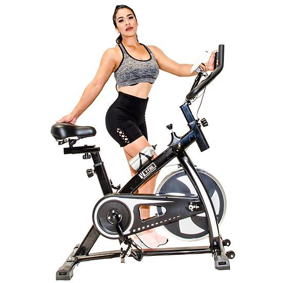 UPGRADED Indoor Fitness Workout Bike - Bigger Cushioned Seat (Silver)