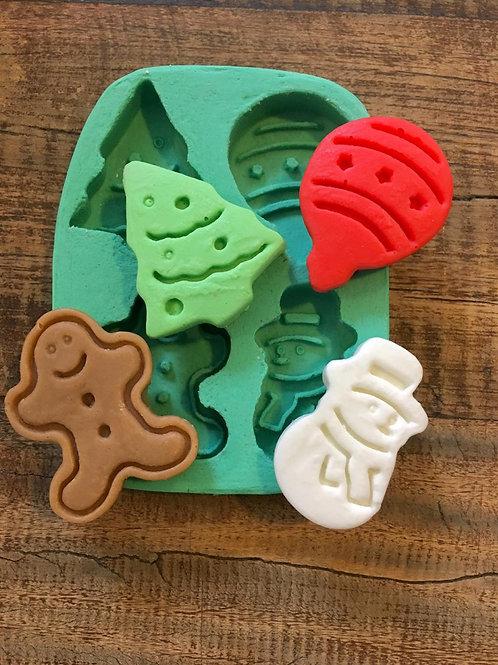 Molde de Silicone - Biscoito de Natal 4 cav