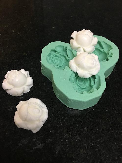 Molde de Silicone 3 cav - Mini Rosas