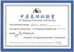 Сертификат ZY Qigong (Китай)