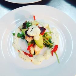 HIGHFIELD ESTATE Pan fried chicken filled with avocado, rocket, saffron  seeded  mustard  aioli