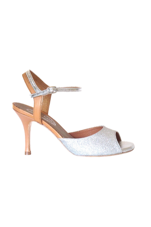 Tango Sandals Cristina, silver fine glitter, camel leather and silver leather