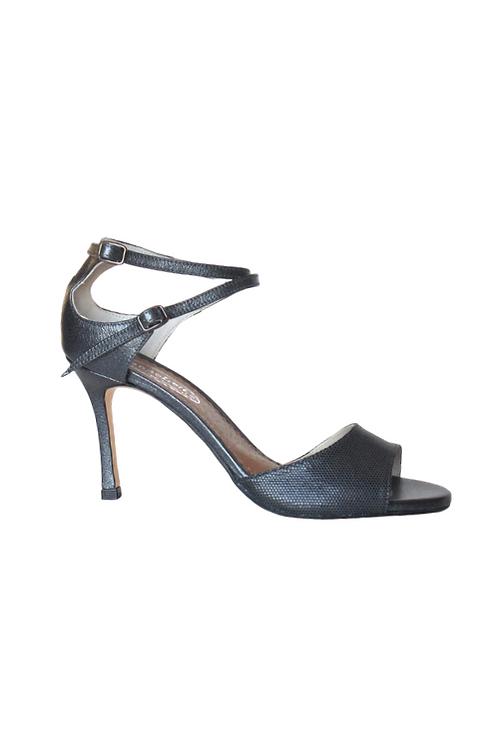 Tango Sandals Zira, gray suede honeycomb design & gray/graphite metal. Leather