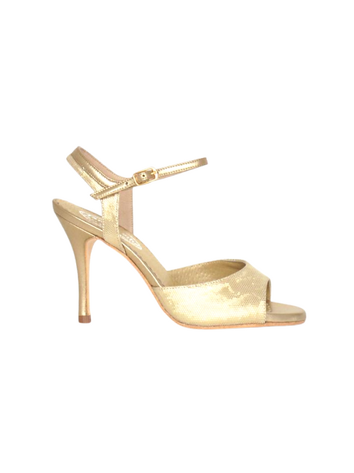 Tango Sandals Lorena, gold leather with pattern and gold leather