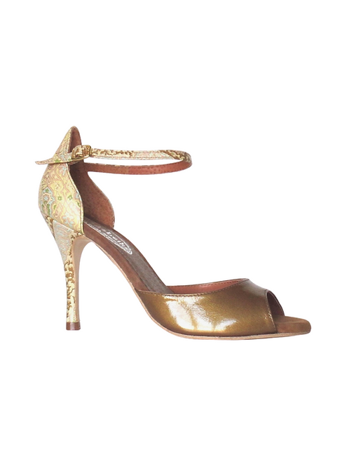 Tango Sandals Margot, bronze patent leather and multicolor fantasy leather