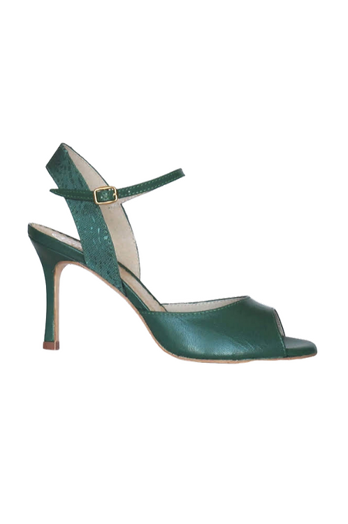 Tango Sandals Silvina, Green leather and Green satin with pattern