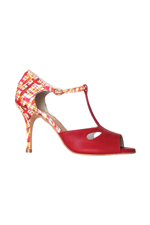 Tango Sandals Inés, red Dakota leather and multicolor satin