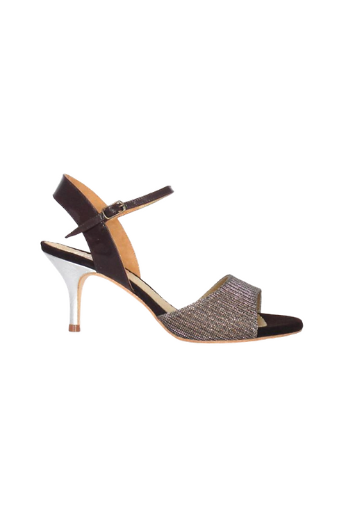 Tango Sandals Claudinette, multicolor lurex, tan patent leather & silver leather