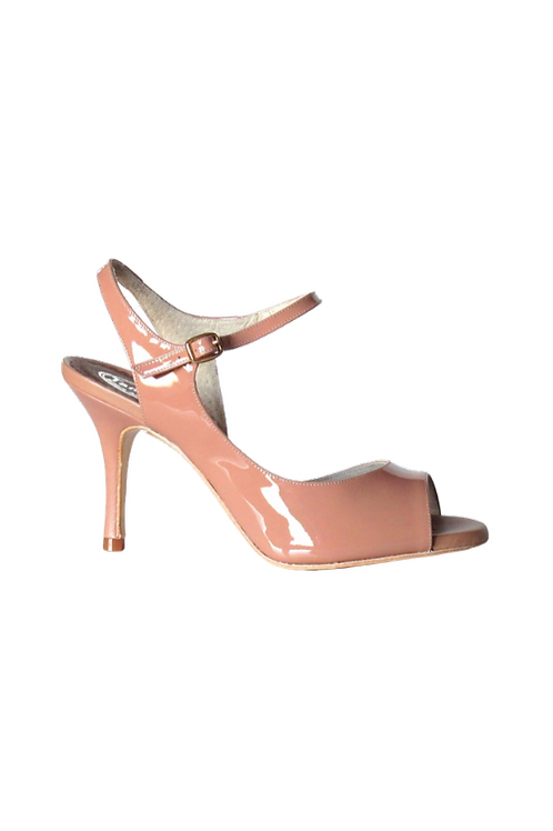 Tango Sandals Tita, nude patent leather and nude leather