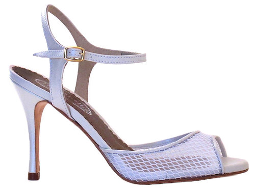 Tango Sandals Ivette, white net and white leather