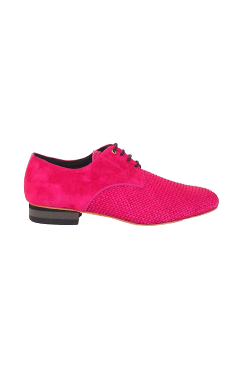 Men's tango shoes Fernando, fuxia braided leather and fuxia suede