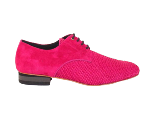 FERNANDO is made of pink suede and pink woven leather 22-80-56
