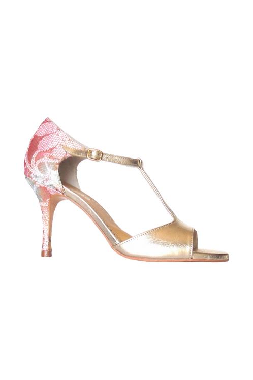Tango Sandals Ramona, platinum leather and multicolor lace