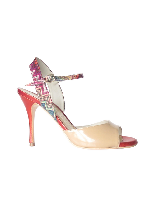 Tango Sandals Marisol, nude leather, multicolor patent leather & orange leather