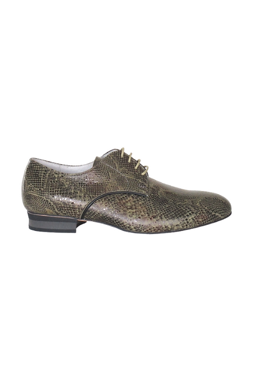 Men's tango shoes Tanguero, green lizard and black leather