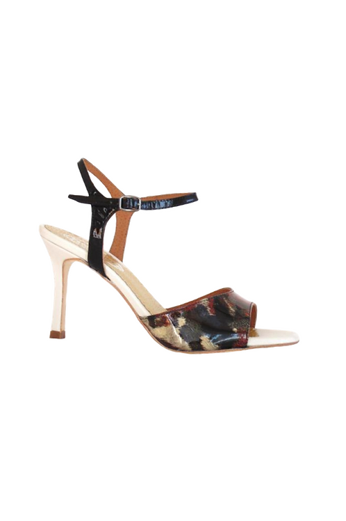 Tango Sandals Marion, multicolor patent leather, black leather & beige leather