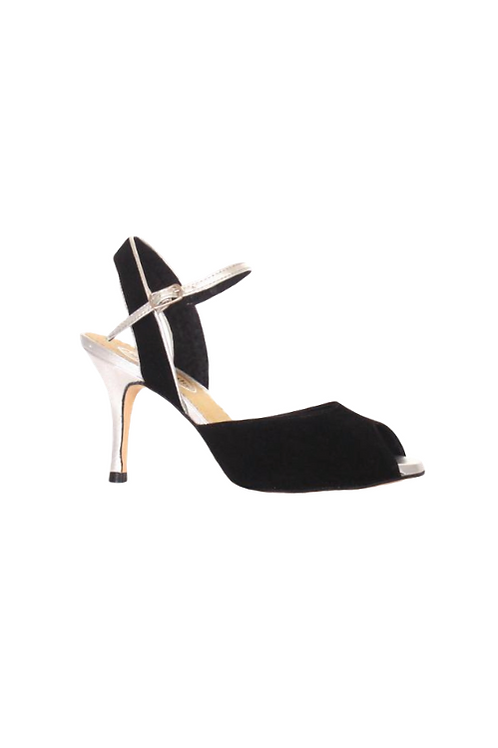 Tango Sandals Regina, black suede and silver leather