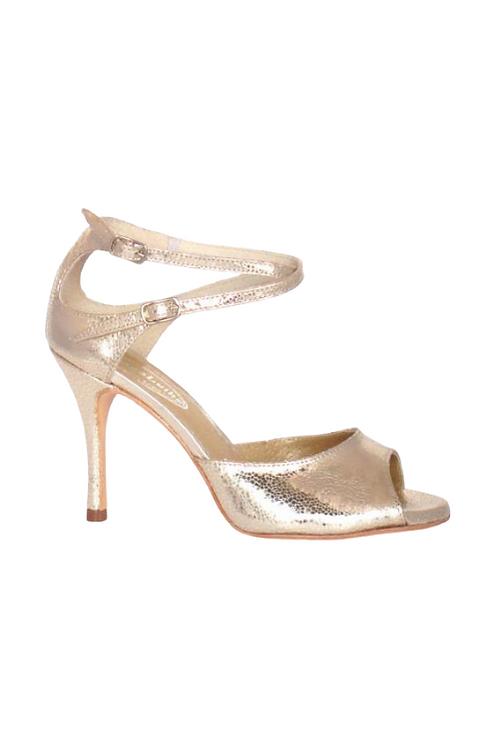 Tango Sandals Malena, platinum caviar and platinum leather
