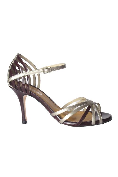 Tango Sandals Angélica, platinum leather and burgundi patent leather