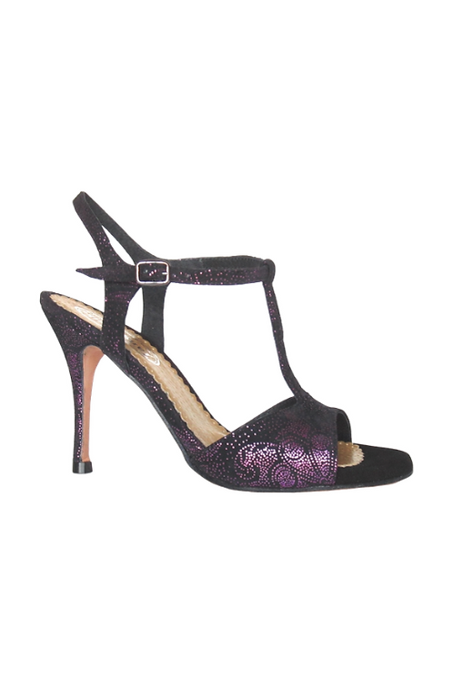 Tango Sandals Vanina, black suede with violet pattern and black suede
