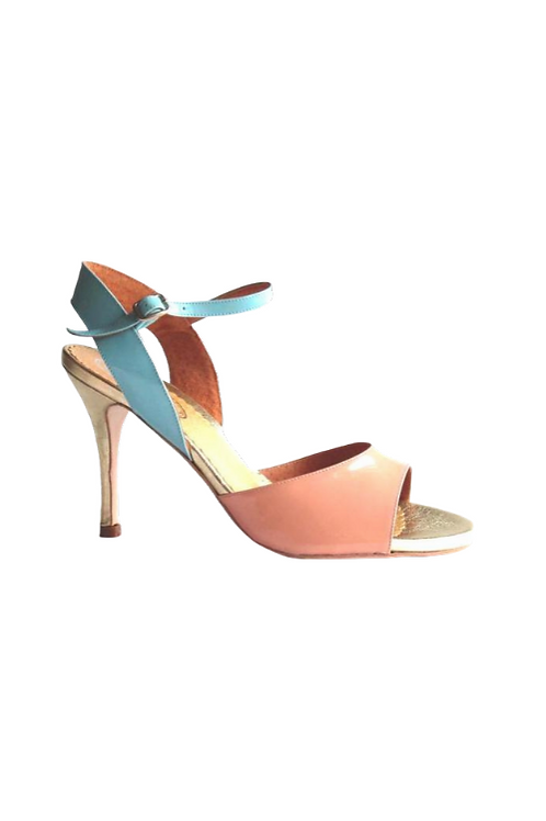 Tango Sandals Pepa, melon and turquoise patent leather and gold leather