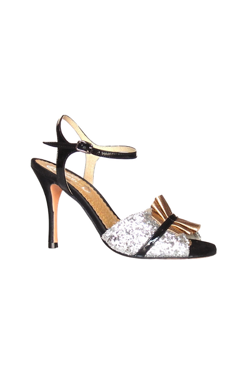 Tango Sandals Rosicler, silver glitter, black patent leather and gold leather