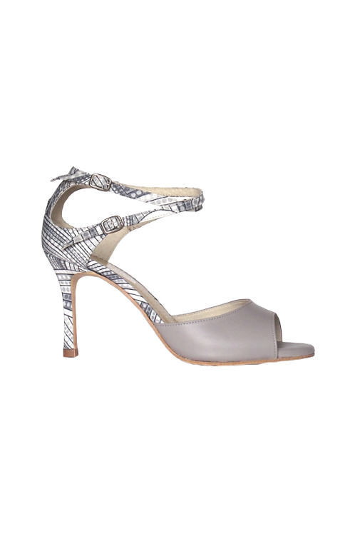 Tango Sandals Olga, white satin with gray pattern and gray leather