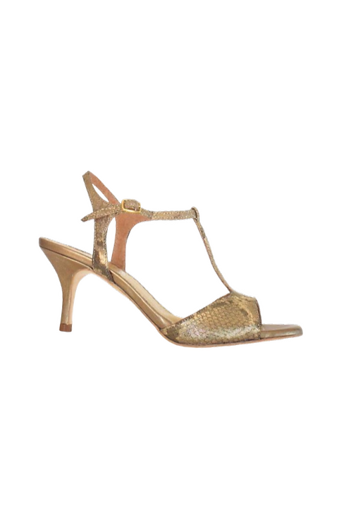 Tango Sandals Vanina, bronze/gold reptile suede and bronze leather