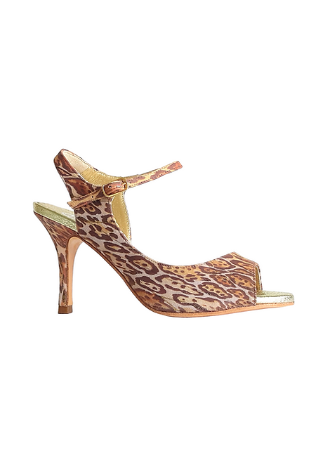 Tita made of soft suede with animal pattern and glitter