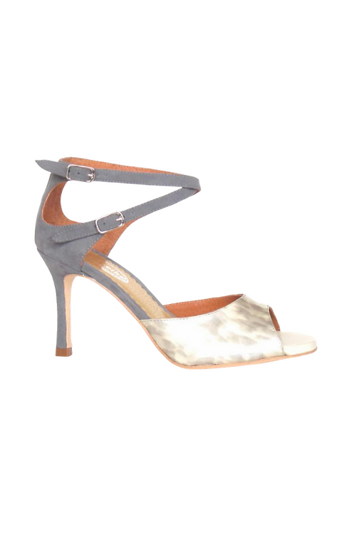 Tango Sandals Olga, beige patent leather with gray pattern, gray suede
