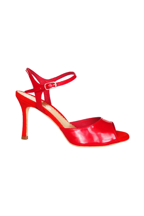 Tango Sandals Aurora, red leather and red suede