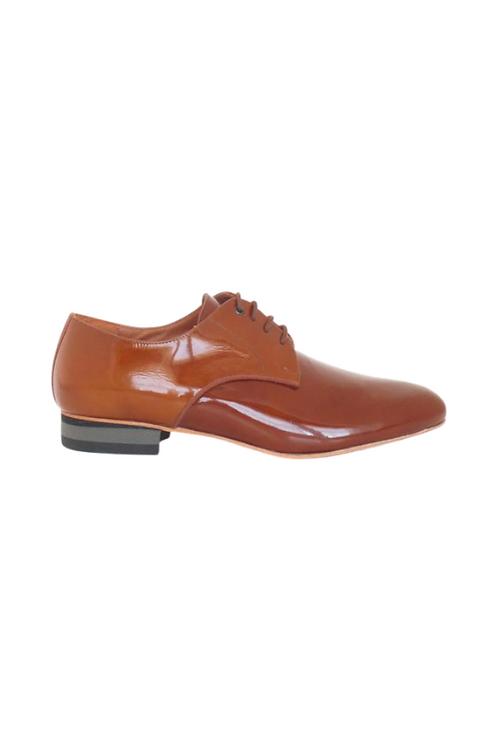 Men's tango shoes Tanguero, tan patent leather
