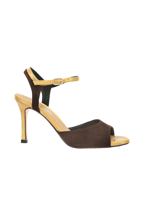 Tango Sandals Lorena, tan suede and gold iridescent leather