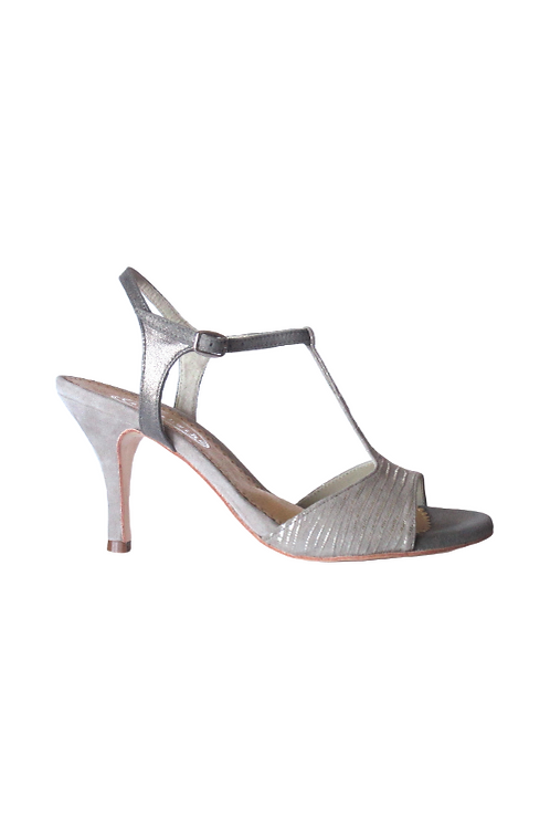 Tango Sandals Vanina, taupe/silver suede and taupe suede