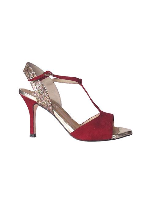 Tango Sandals Rosalba, burgundi suede, multicolor glitter and gold leather