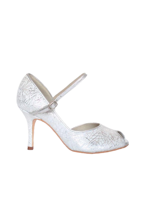 Tango Pumps Nelly, white nubuck with silver pattern and silver leather