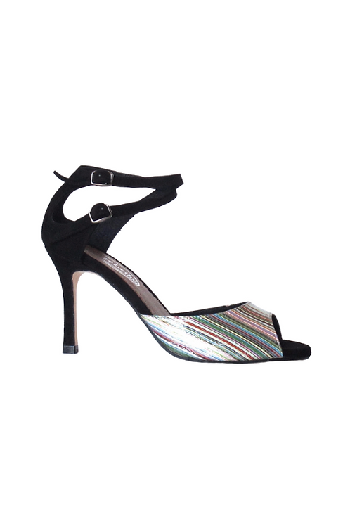 Tango Sandals Malena, multicolor leather and black suede